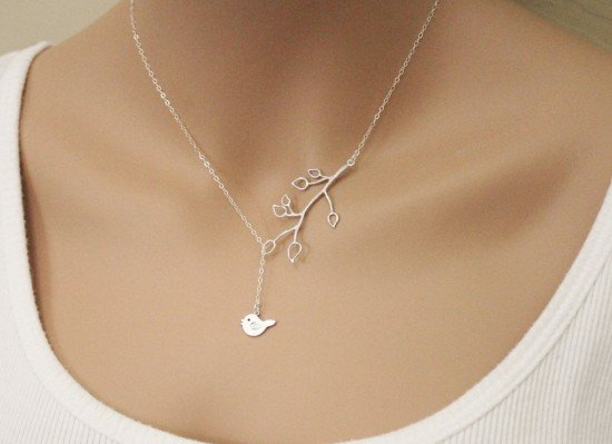 Blossom Branch and Sweetie Bird Lariat Necklace